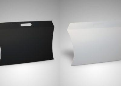Caixas cartolina asa vazada branco/preto
