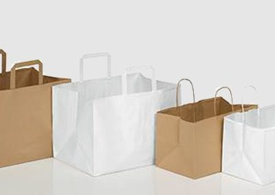 Sacos papel take-away kraft branco / castanho
