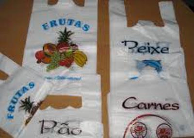"""Sacos plástico alça impresso """"frutas / peixe / carnes / padaria"""""""