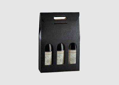 Caixa cor 3 garrafas (preto/bordeaux)